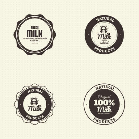 vacas lecheras: Set of labels with text and icons for milk products