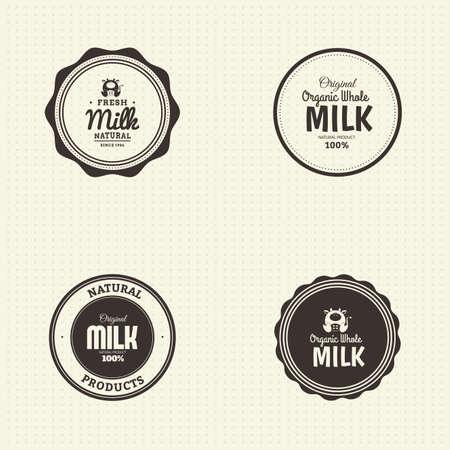 vacas lecheras: Conjunto de etiquetas con texto e iconos de los productos l�cteos Vectores
