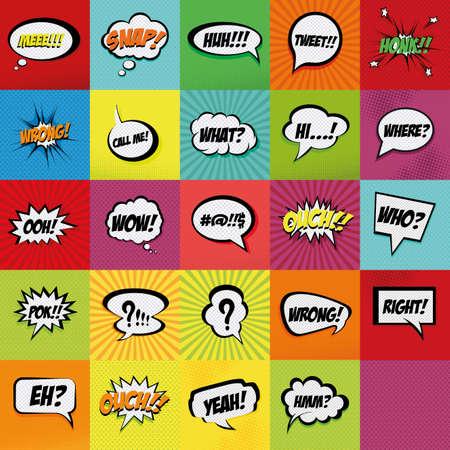 Set van komische uitdrukkingen op een gekleurde achtergrond