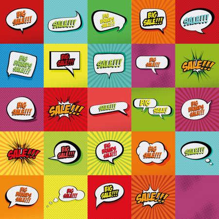 Ensemble d'expressions comiques sur fonds colorés Banque d'images - 46864254