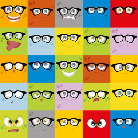 anger kid: Set of facial expressions on different colored backgrounds