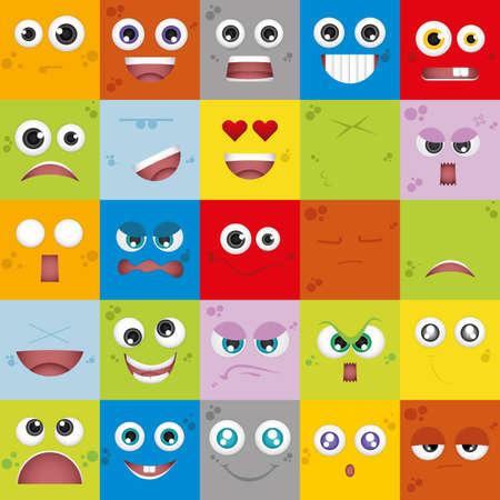 gestos de la cara: Conjunto de expresiones faciales en diferentes ámbitos de colores Vectores
