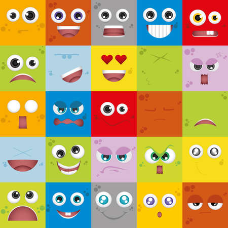 facial expressions: Set of facial expressions on different colored backgrounds
