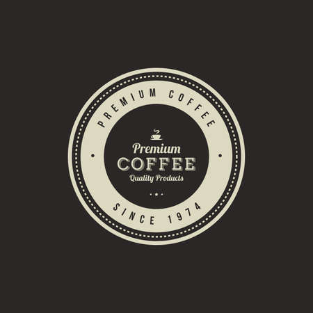 business banner: Isolated coffee label on a black background