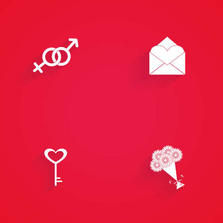 heterosexuality: Set of love icons on a red background