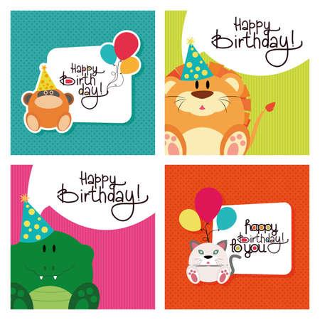 persona feliz: Conjunto de fondos texturizados con el texto y los animales para los cumpleaños