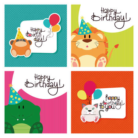 happy birthday text: Set of textured backgrounds with text and animals for birthdays Illustration