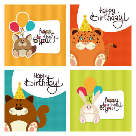 textured backgrounds: Set of textured backgrounds with text and animals for birthdays Illustration