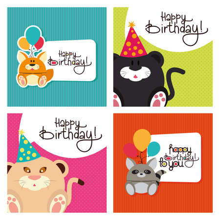 Set of textured backgrounds with text and animals for birthdays Ilustracja