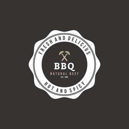 sticker design: Isolated label with text for barbecue events Illustration