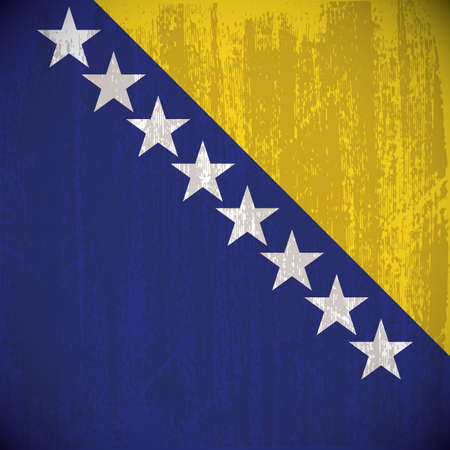 bosnia and  herzegovina: Colored bosnia herzegovina flag with details and grunge texture