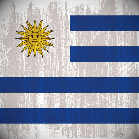 uruguay flag: Colored uruguay flag with details and grunge texture Illustration
