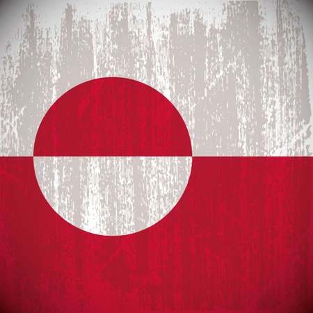 greenland: Colored greenland flag with details and grunge texture