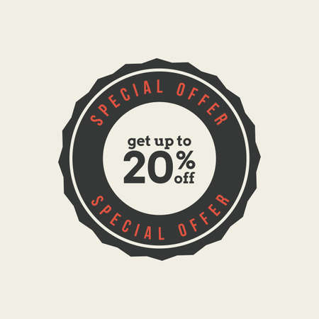 20: Isolated 20% sales label with text on a white background Illustration