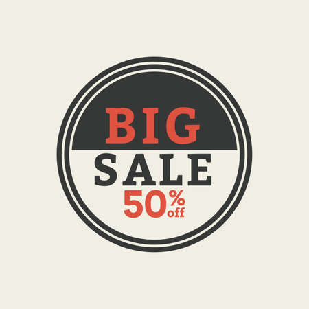 50: Isolated 50% sales label with text on a white background Illustration