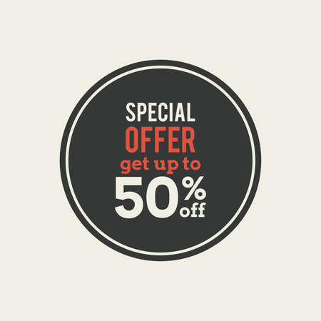 50: Isolated sales label with 50% text on a white background