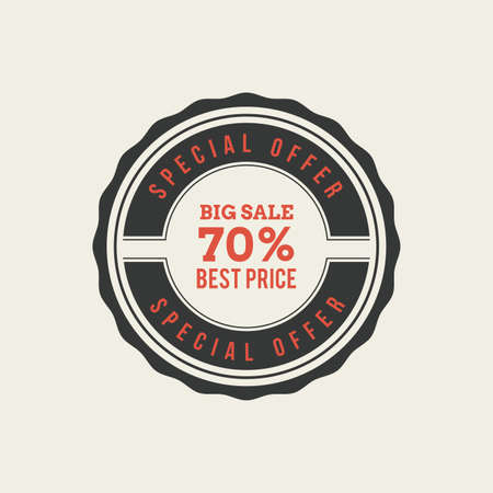 70: Isolated sales label with 70% text on a white background
