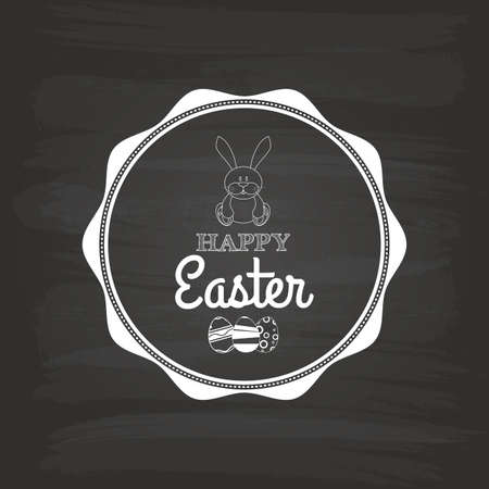 april clipart: Isolated easter label with text and eggs