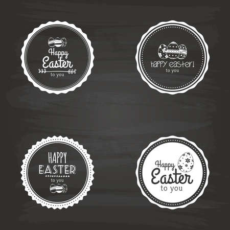 rabbit clipart: Set of easter labels with text and eggs