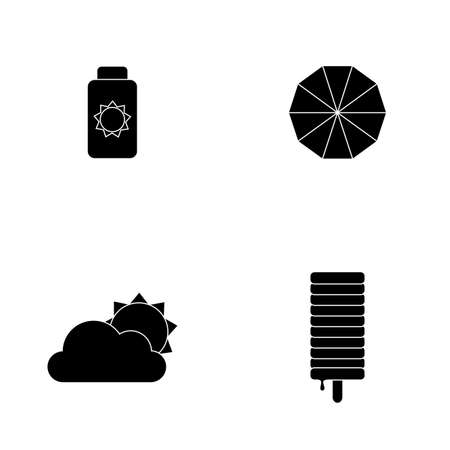 silhouetted: Set of silhouetted summer icons on a white background Illustration