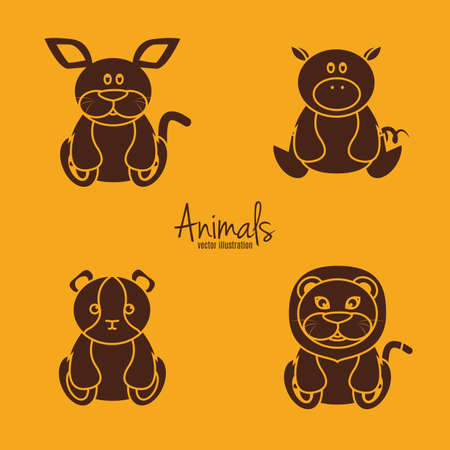animal silhouettes: set of silhouettes of animals on a colored background