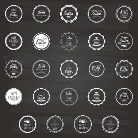 april clipart: Set of easter labels on a black background