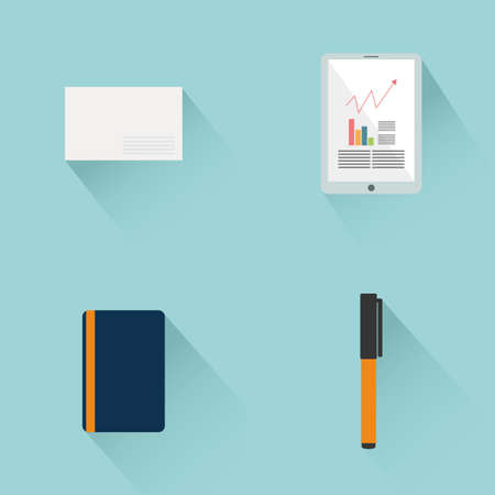 Set of office supplies on a blue background