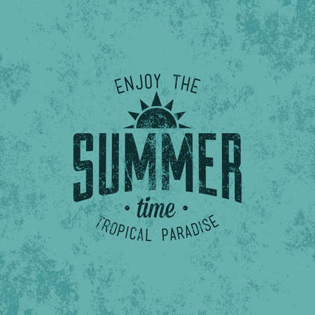 summer season: Blue background with text and a summer icon