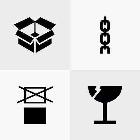fragile industry: Set of logistic and delivery icons on white backgrounds