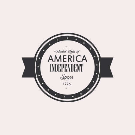 Isolated label with text for independence day Ilustracja