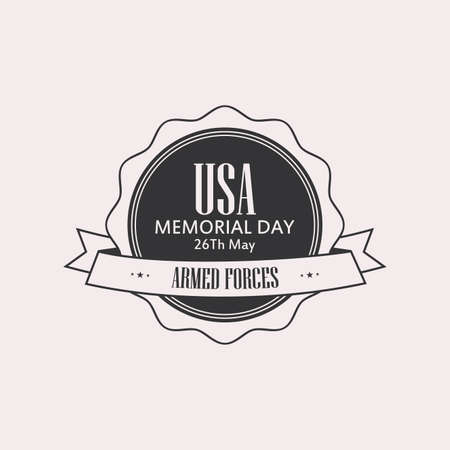 national hero: Isolated label with text for memorial day