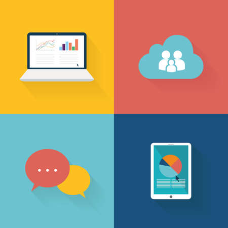 editorial design: Set of social media icons on colored backgrounds Illustration