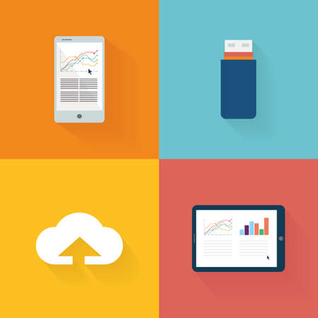 media icons: Set of social media icons on colored backgrounds Illustration