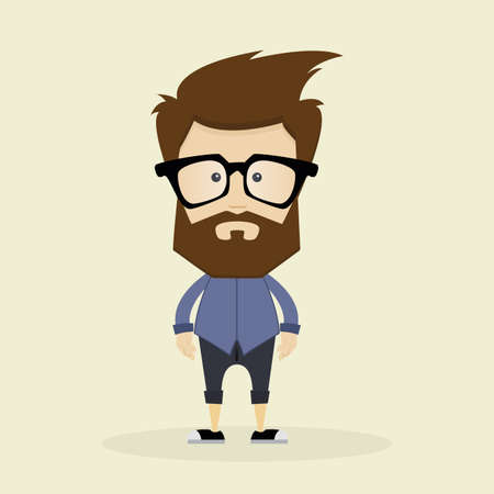 glass modern: Isolated Hipster character on a white background