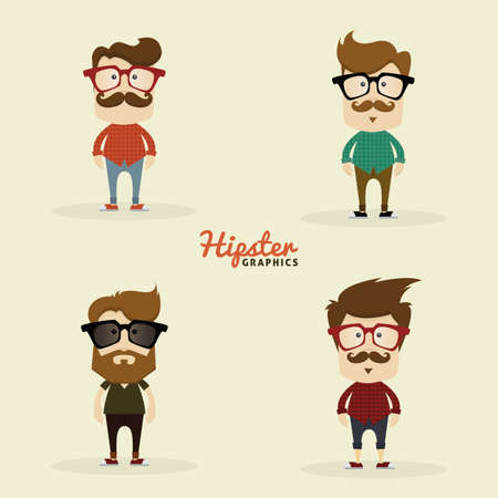 vestidos antiguos: Set of Hipster characters on a white background