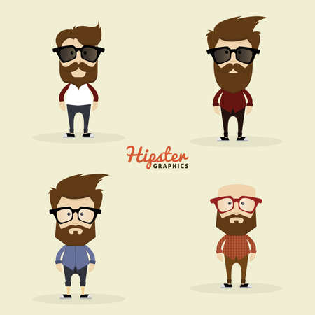sunglasses cartoon: Set of Hipster characters on a white background