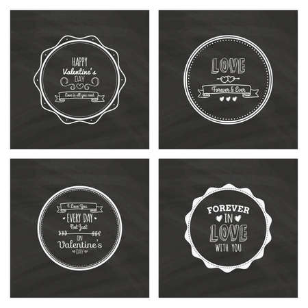 trendy shape: Set of love labels with text on black backgrounds