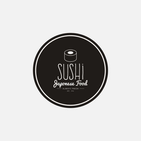 salmon dinner: abstract sushi label on a white background