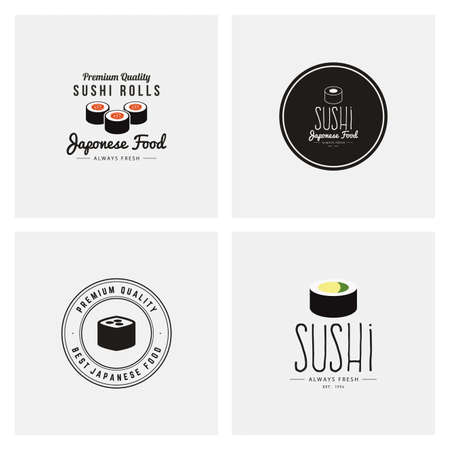 salmon dinner: abstract sushi labels on a white background
