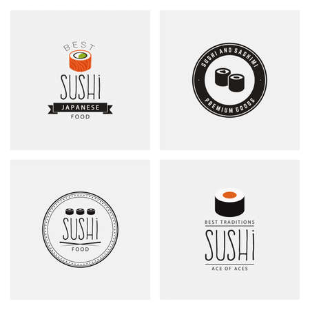 sushi: abstract sushi labels on a white background