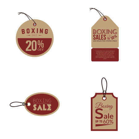 boxing day special: Set of sale labels with text on a white background