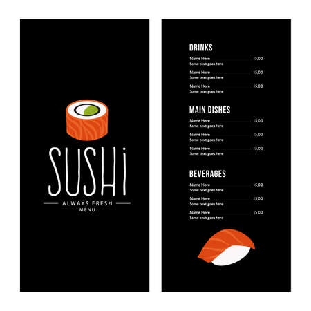 sushi roll: Abstract sushi menu background with some special objects