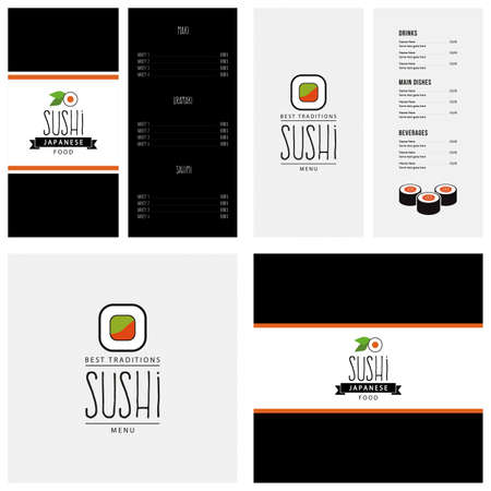 sushi restaurant: Abstract sushi menu background with some special objects