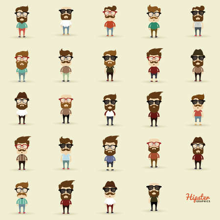 Set of Hipster characters on a white background
