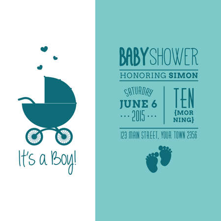 Colored background with text and icons for baby showers Ilustração