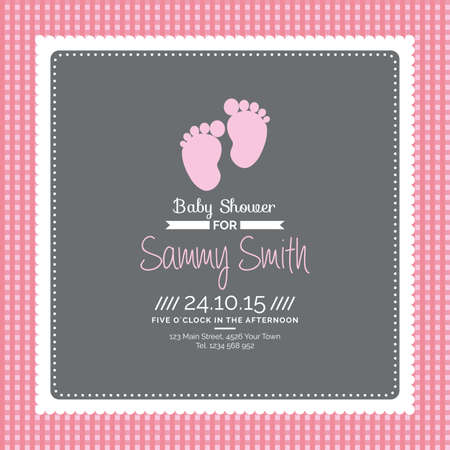 vintage postcard: Colored background with text and icons for baby showers Illustration