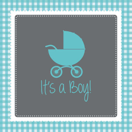 baby boy announcement: Colored background with text and icons for baby showers Illustration