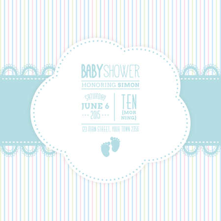 Colored background with text and icons for baby showers Çizim