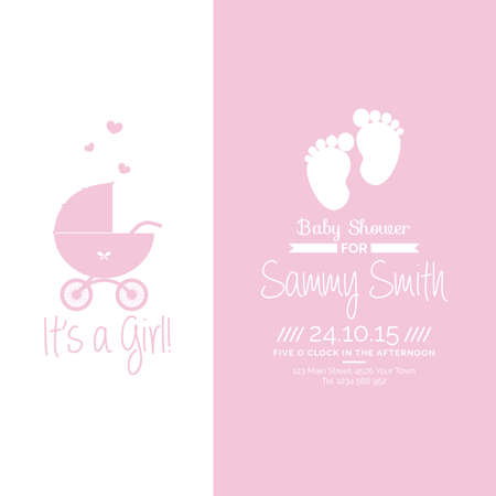 baby birth: Colored background with text and icons for baby showers Illustration