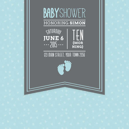 baby boy: Colored background with text and icons for baby showers Illustration